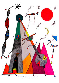"""""""Landschaftern"""" - Pendel nach rechts - 01.01.1994, Werkverzeichnis 396, Textilfarbeüber über Filzstift auf Papier, b 48,0 cm * h 65,5 cm"""