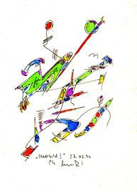 """""""Stadtbild I"""", WVZ 993 / datiert 17.05.1996 / Aquarell und Filzstift auf Papier / Größe b 18,0 cm * 24,0 cm"""