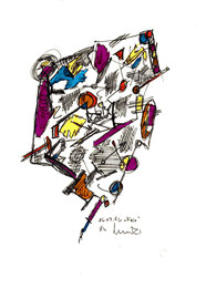 """""""Viola"""", WVZ 1.013 / datiert Lübben, 16.07.1996 / Filzstift und diverse Farben auf Papier / Größ b 18,0 cm * 24,0 cm"""