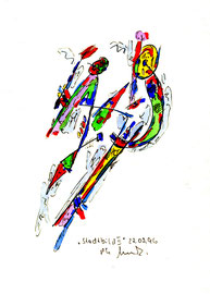 """""""Stadtbild II"""", WVZ 994 / datiert 17.05.1996 / Aquarell und Filzstift auf Papier / Größe b 18,0 cm * 24,0 cm"""