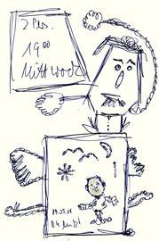 """""""2 Personen 19.00 Uhr Mittwoch"""" Sayalonga, 29.05.2014 Kugelschreiberzeichnung auf Papier. b 10,0 cm * h 17,0 cm. Werkverzeichnis 4195"""
