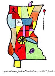 """""""Garten mit Ausgang und Blatt"""" Werkverzeichnis 1.625 / datiert Bad Sobernheim, 13.07.98 / Tusche und Aquarellfarben auf Papier / Maße b 24,0 cm * h 32,0 cm"""