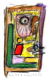 """""""Anita"""" / WVZ 3.685 / datiert T. d. M., 15.02.2004 / Aquarellfarbe und Kohle auf Papier / Maße b 21,0 cm * h 29,7 cm"""