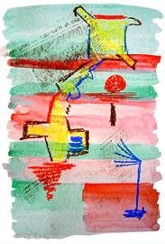 """""""o. T."""" / 1.232 / 1997 / teils-teils: Ölkreide, Kreide, Kohle, Bleistift, Zeitungsabdruck und Aquarell auf Papier / Maße jeweils b 36,0 cm * h 48,0 cm"""