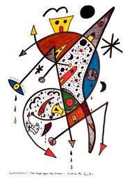 """""""Landschaftern"""" - Zwei Vögel gegen den Himmel - 17.09.1994, Werkverzeichnis 423, Textilfarbe auf Papier, b 30,0 cm * h 40,0 cm"""