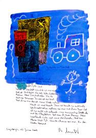 """""""Gedanken an Isenstedt"""" / Sayalonga, 03. Januar 2009 / Sprechbild mit Text als Originalgrafik mit Ölkreide, Aquarell und Bleistifttext auf 200-g-Papier / Größe b 35,0 cm * h 50,0 cm / Werkverzeichnis 3.833"""