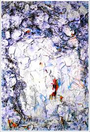 """""""Kinderland - abgebrannt - Winterland"""" WVZ 1.019 Gips, Metallsplitter, Sackleinen, Pappe, Federn, Wedel, Katzenstreu, zwei Dauerlutscher sowie diverse Farben und Lacke auf Sperrholz. Arbeitsbeginn in 1992 / Fertigstellung August 1996. B 60 cm * H 90 cm"""