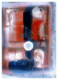 """Malerei """"o. T."""" Werkverzeichnis 1.203. Datiert 26.12.1996 Ölfarbe, Binderfarbe, Lacke und Tusche auf Pappe. Größe b 36,0 cm * h 48,0 cm"""