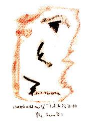 """Selbstbildnis IV"" / WVZ 3.744 / datiert T. d. M., 23.11.04 / Kreide und Aquarell auf Papier / Maße b 23,0 cm * h 31,0 cm"