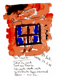 """""""Am Fenster"""" / Torrox, den 27.11.2008 / """"Sprechbild"""" mit Text als Original Grafik mit Aquarellfarben, Bleistift und Text auf Papier / B 21,0 cm * H 29,7 cm / Werkverzeichnis 3.823"""