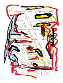 """""""Muttis Geburtstag I"""", Werkverzeichnis 939, datiert 04.02.1996, diverse Stifte, Farben und Text auf Papier, Maße 24,0 cm * 32,0 cm"""