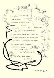 """""""Wir wollen wagen"""", Werkverzeichnis 1.085, datiert 05.11.1996, Filzstift, Kohle und Text auf Papier, Maße 30,0 cm * 40,0 cm"""