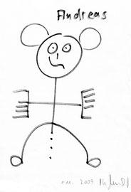 """""""Andreas"""" / 1.11.2009 / Originalgrafik / Zeichnung mit Filzstift auf Papier / b 21,0 cm * h 29,7 cm / Werkverzeichnis 3856"""