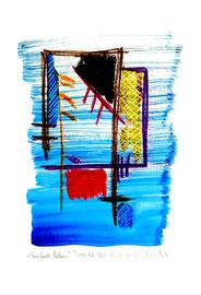 """""""Einfach leben I"""" / WVZ 3.689 a / datiert Torre del Mar, 15.02.04 / Aquarell, Tusche und Kreide auf Papier / Maße b 21,0 cm * h 29,7 cm"""
