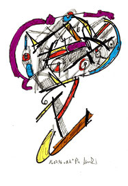 """""""d. K."""", WVZ 1.012 / datiert Lübben, 16.07.1996 / Filzstift und diverse Farben auf Papier / Größ b 18,0 cm * 24,0 cm"""