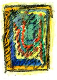 """Ikone"" /NWVZ 3.678 / Datiert Torre del Mar, 14.02.2004 /NAquarell, Tusche, Tinte, Kreide + Lack auf Papier / Maße b 21,0 cm * h 29,7 cm"