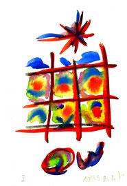 """""""o. T."""" I Werkverzeichnis 569, Aquarell und Kohle auf Büttenpapier aus 10/95, Größe b 10,0 cm * h 16,0 cm."""