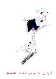 """""""Mittlere Asche"""" / Werkverzeichnis 1.726 / signiert Gestringen, 12.09.98 / Filzstift rot und schwarz, sowie Asche auf Papier/ Maße 29,4 cm * 42,0 cm"""
