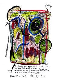 """""""Sprechbild: Ein Versuch…"""" mit Text. Original Grafik. Tusche, Aquarellfarben, Buntstifte und Text auf Papier. B 29,7 cm * H 42,0 cm. Lübbecke, 19.11.2015. Werkverzeichnis 4217"""