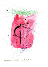 """""""Brandmal"""" II / Werkverzeichnis 3.198 / B., 21.09.00 / Tusche, Feuer und Aquarell auf Papier / Maße b 21,0 cm * h 29,7 cm"""