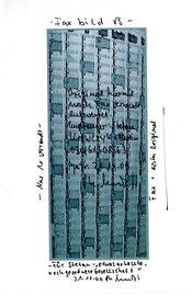 """""""Nur ein Originalfax 030/61308563 B"""" WVZ 3.298 / datiert Gestringen, 31.12.00 / Text und Zeichnung als Faxvorlage für Stephan Krawczyk zum Geburtstag auf Papier / Maße jeweils b 21,0 cm * h 29,7 cm"""