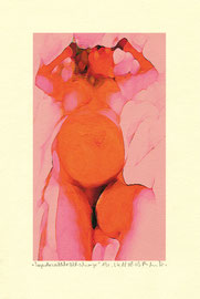 """""""Liegender weiblicher Akt - schwanger"""" / WVZ 3.614 / datiert 18.08.2003 / Am PC bearbeitetes Foto als Tintenstrahldruck auf Papier / Maße b 21,0 cm * h 29,7 cm"""