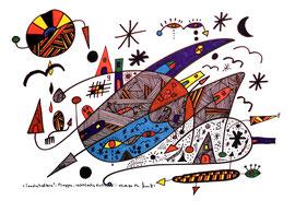 """""""Landschaftern"""" - Flaggen - rechtslastig driftend - 05.09.1994, Werkverzeichnis 421, Textilfarbe auf Aquarellpapier, b 40,0 cm * h 30,0 cm"""