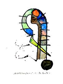 """""""transformis C"""" / Werkverzeichnis 1.578 / datiert 15.04.98 / Kohle und Aquarell auf Papier / Maße b 30,0 cm * h 40,0 cm"""