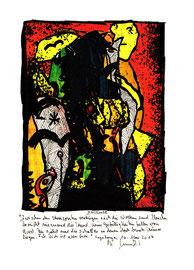 """""""Horizonte"""" / Werkverzeichnis 4.252 / datiert, Sayalonga, 06. Mai 2017 Tintenstrahldruck, Textilfarbe und Text auf Papier Maße 21,0 cm * h 29,7 cm"""