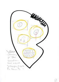 """""""In etwa - ja!"""" / WVZ 3.214 / datiert 23.10.00 / Blei-, Filzstift und Text auf Papier / Maße b 21,0 cm * h 29,7 cm"""
