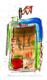 """""""Schillerfarben um drei"""" / WVZ 3.686 / datiert T. d. M., 15.02.2004 / Aquarellfarbe und Kohle auf Papier / Maße b 21,0 cm * h 29,7 cm"""