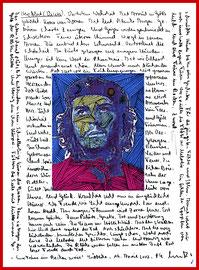 """Herzblut (Vision) - Ernesto Che Guevara: """"Eine Träne im Becken zu viel"""" / datiert Lübbecke, 19. April 2002 / Werkverzeichnis 3577 / Tintenstrahldruck sowie Farbstifte und Bleistifttext auf Papier / 21,0 cm * 29,7 cm"""