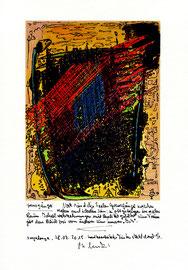 """""""Sprechbild: Grenzgänger"""" mit Text. Original Grafik (1 von 1), handbearbeitet mit Tusche, Aquarellfarben, Buntstifte und Text auf Papier. B 21,0 cm * H 29,7 cm. Sayalonga, 28.07.2015. Werkverzeichnis 4215"""