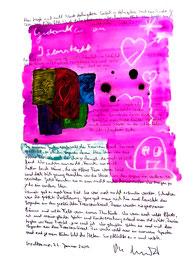 """""""Gedanken an Isenstedt"""" / Espelkamp, 22. Januar 2009 / Sprechbild mit Text als Originalgrafik mit Ölkreide, Aquarell und Bleistifttext auf 200-g-Papier / Größe b 35,0 cm * h 50,0 cm / Werkverzeichnis 3.852"""