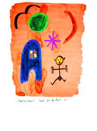 """""""Mädchentraum"""" / Serie v. 13 Arbeiten / hier 11/13 WVZ 3.760 / datiert 2005 / Kreide und Aquarell auf Papier / b 30,0 cm * h 42,0 cm"""