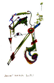 """""""Komm raus"""" Werkverzeichnis 1.720 / datiert 08.09.98 / Asche, Filzstift und Farben auf Papier / Maße 29,4 cm * 42,0 cm"""
