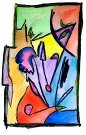 """Malerei """"Landschaft"""" Werkverzeichnis 1.150. Datiert 16.11.96. Aquarell auf Papier. Größe b 51,0 cm * h 73,3 cm"""