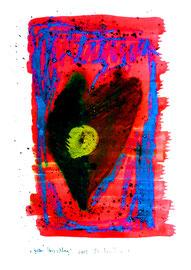 """""""Gelber Herzschlag"""" WVZ 3.751 / dat. 2005 / Serie v. 13 Arbeiten / hier 2/13 Kreide, Tusche, Aquarell a. Papier / b 30 cm * h 42,0 cm"""