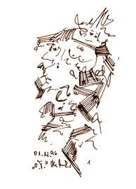 """o. T."" 1, datiert 01.12.96 Filzstift auf Bütten Maße b 10,0 cm * h 16,0cm - Druck - nicht im WVZ"