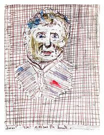 """""""Zoran"""" / Werkverzeichnis 3.575 / datiert 13.03.2002 / Portraitzeichnung mit Filzstift, Bleistift und weiteren Farben auf Papier / Maße b 16,3 cm * h 20,3 cm"""