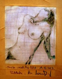 """""""- Anita - weiblicher Akt -"""" / Werkverzeichnis 3.576 / datiert 19.03.2002 / Bleistift, Fotoveränderung und Mischtechnik auf Papier geklebt mit Papierband / Maße b 14,5 cm * h 19,5 cm"""