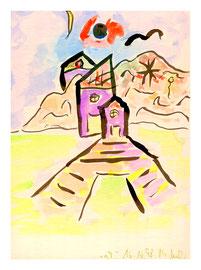 """""""o.T."""" 3 / Werkverzeichnis 1.744 / datiert 16.10.98 / Aquarell und Tusche auf Pappe / Maße b 25,5 cm * h 34,2 cm"""