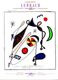 """""""Silvester"""" - """"Landschaftern"""" - WVZ 465, vom 04.01.1995, Textilfarbe und Kreide auf Hotelblock, Größe b 21,0 cm * h 29,7 cm"""