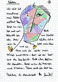 """""""Lächeln (2)"""" / Sprechbild mit Text / Filzstift und Text auf kariertem Papier /  Klinikum Duisburg, 12. November 2007 / B 14,4 cm * H 20,2 cm WVZ 3.791"""