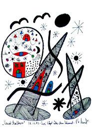 """""""Landschaftern"""" - Zwei Vögel über dem Himmel - Gestringen, den 28.11.1993 Werkverzeichnis 371 Textilfarbe auf Aquarellpapier b 24,0 cm * h 32,0 cm Verkauft an unbekannt."""