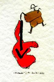 """""""09. November"""" I Werkverzeichnis 867. Datiert 12/95. Filzstift und Tinte auf Aquarellpapier. Größe b 18,0 cm * h 24,0 cm."""