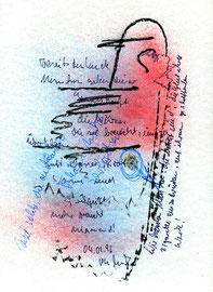 """""""Muttis Geburtstag III"""", Werkverzeichnis 941, datiert 04.02.1996, diverse Stifte, Farben und Text auf Papier, Maße 24,0 cm * 32,0 cm"""