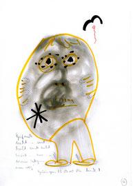 """o. T."" / WVZ 3.212 / datiert 23.10.00 / Blei-, Filzstift und Text auf Papier / Maße b 21,0 cm * h 29,7 cm"