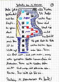 """""""Gedanken am 12. November (1)"""" / Sprechbild mit Text / Filzstift und Text auf kariertem Papier / Klinikum Duisburg, 12. November 2007 / B 14,4 cm * H 20,2 cm / WVZ 3:790"""