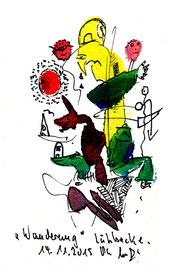 """""""Wanderung"""" Farbige Tusche- und Farbstiftzeichnung. Originalgrafik auf Papier. B 12,0 cm * H 17,0 cm. Lübbecke, 14.11.2015. Werkverzeichnis 4205."""